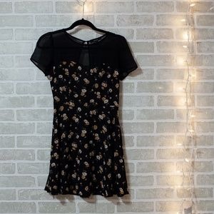 Black Mini Dress with daisy flowers & mesh
